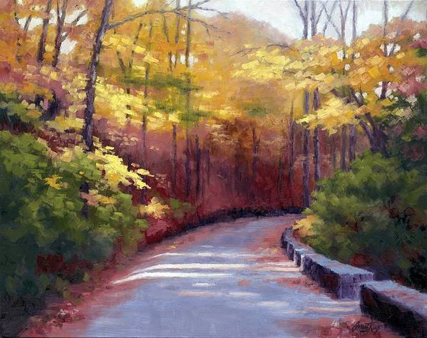 Autumn Paintings Print featuring the painting The Old Roadway In Autumn II by Janet King