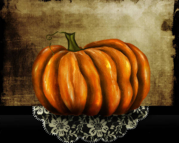 Pumpkin Print featuring the painting The Prize Winner by Brenda Bryant