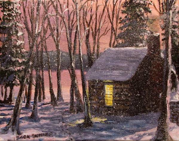 Thoreau's Cabin Print featuring the painting Thoreau's Cabin by Jack Skinner