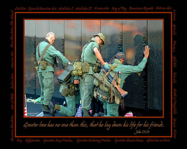 Veterans Print featuring the photograph Veterans At Vietnam Wall by Carolyn Marshall