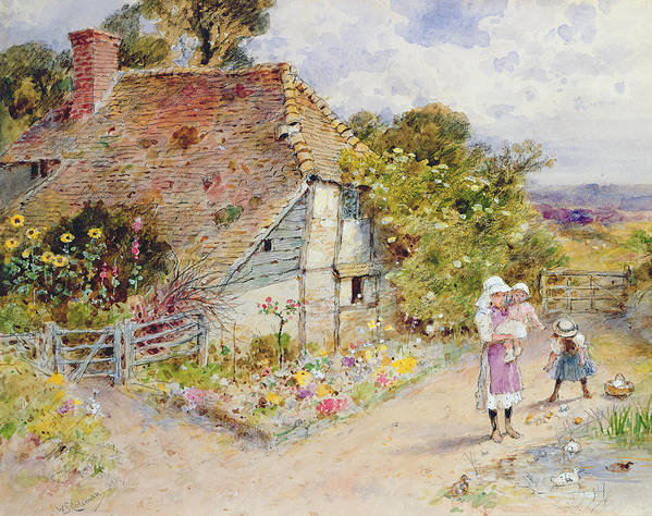 Country Cottage; Garden; Pond; Birds; Children; Baby; Mother; Female; Standing; Holding; Carrying; Feeding; Basket; Landscape; Rural; Countryside; Outdoors; House; English Architecture; Picturesque; Infant; Child; Duck; Victorian Costume; Leisure Print featuring the painting Watching The Ducks by William Stephen Coleman