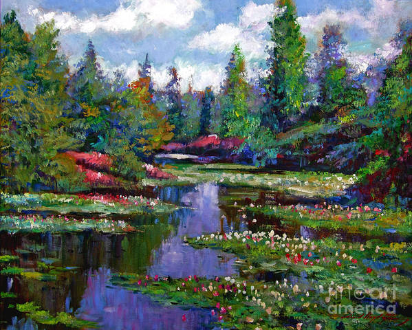 Impressionism Print featuring the painting Waterlily Lake Reflections by David Lloyd Glover