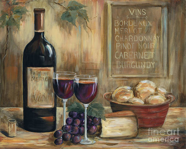 Wine Print featuring the painting Wine For Two by Marilyn Dunlap