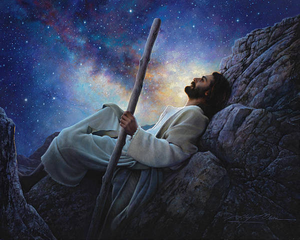 Jesus Print featuring the painting Worlds Without End by Greg Olsen