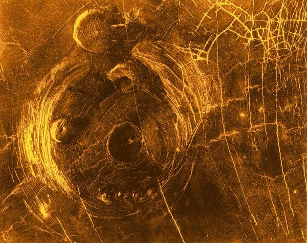 20th Century Print featuring the photograph Venus, Synthetic Aperture Radar Map by Detlev Van Ravenswaay