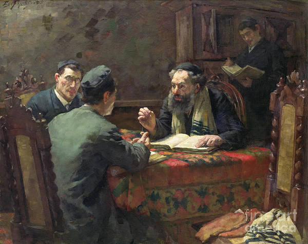 Interior; Jewish; Rabbi; Discussion; Talking; Religious Skull-cap; Religion Print featuring the painting A Theological Debate by Eduard Frankfort
