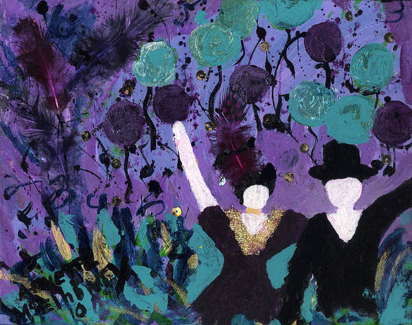 Women Print featuring the painting Althea Dances With Ned by Annette McElhiney