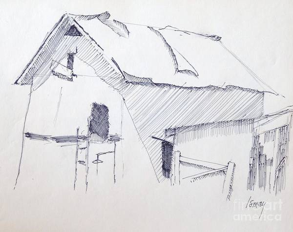 Barn Print featuring the drawing Barn 3 by Rod Ismay