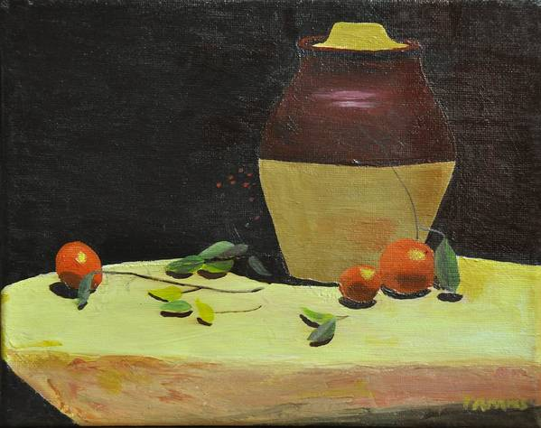 Still Life Print featuring the painting Crock With Fruit by Tom Amiss