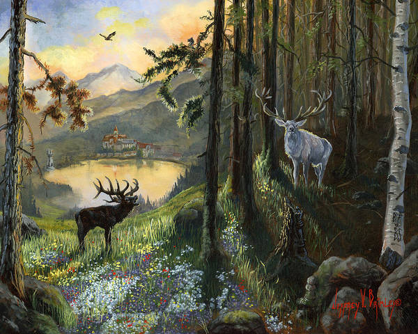 Deer Print featuring the painting Harts Gambit by Jeff Brimley