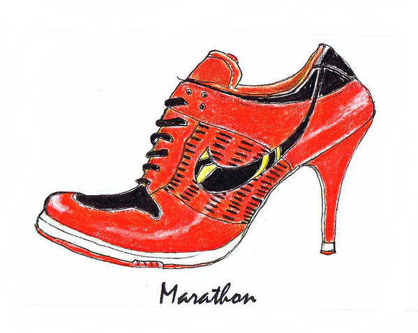 Marathon Print featuring the drawing Marathon by Lynn Blake-John