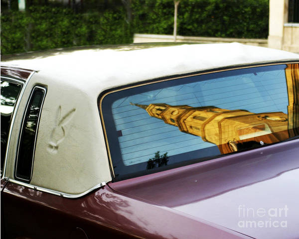 Charleston Sc Is Known As The holy City. This Playboy's Cadillac Was Parked In Front Of St. Phillips Church Built In 1842. The Church's Reflection Was Magnificent! I Wonder If The Car's Owner Had An Epiphany? Print featuring the photograph Pimpmobile by Joyce Weir