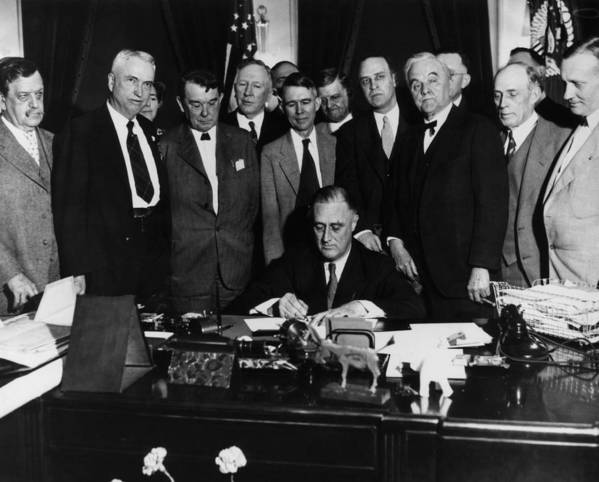 1930s Candid Print featuring the photograph President Franklin D. Roosevelt Seated by Everett