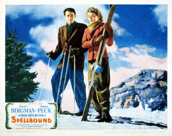 1940s Movies Print featuring the photograph Spellbound, Gregory Peck, Ingrid by Everett