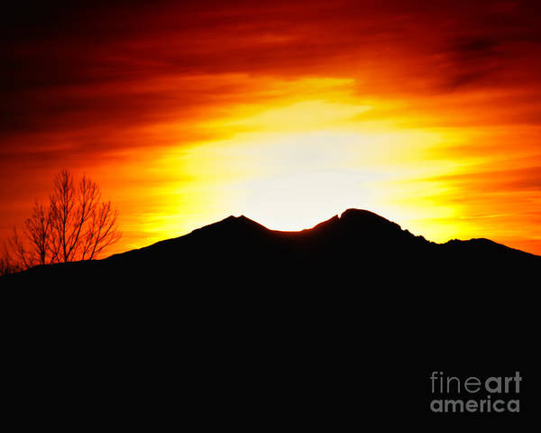 Larimer County Print featuring the photograph Sunset Over Longs Peak by Harry Strharsky