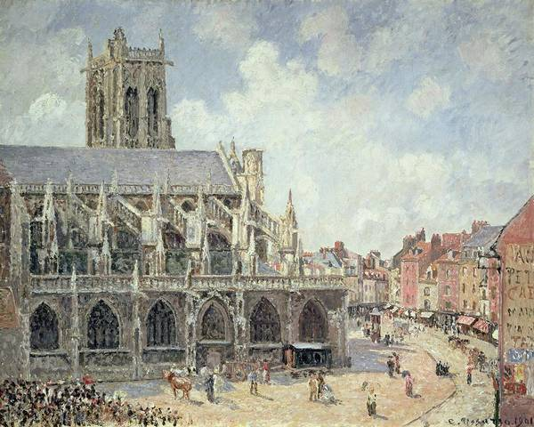 The Church Of St Jacques In Dieppe Print featuring the painting The Church Of Saint Jacques In Dieppe by Camille Pissarro