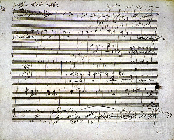 18th Century Print featuring the photograph Beethoven Manuscript by Granger