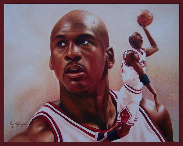 Michael Print featuring the drawing Michael Jordan by Cory McKee