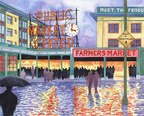 Pike Place Print featuring the painting Pike Place Lights by Scott Nelson