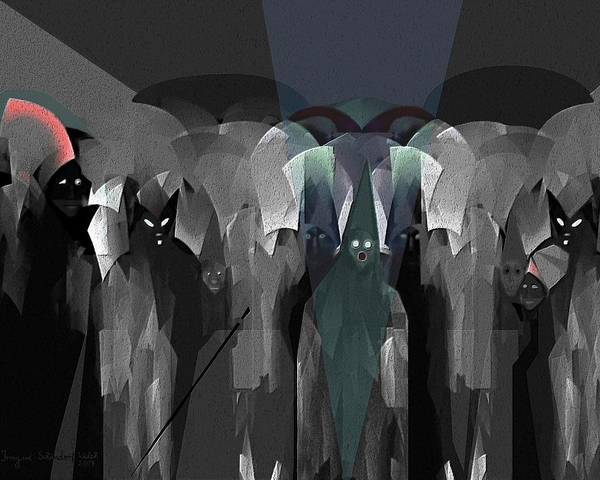 Ghost Print featuring the digital art 127 - Nightwalkers Dark by Irmgard Schoendorf Welch