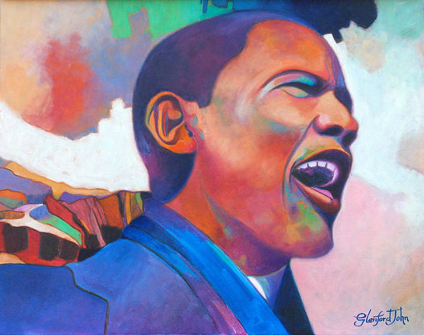 President Print featuring the painting Barack Obama by Glenford John
