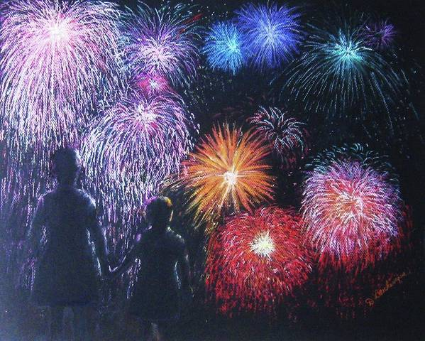 Fireworks Print featuring the pastel Children On The 4th Of July by Diane Larcheveque