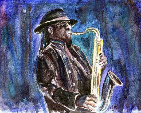 Clarence Clemons Print featuring the painting Clarence Clemons by Clara Sue Beym