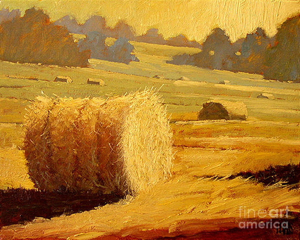 Hay Print featuring the painting Hay Bales Of Bordeaux by Robert Lewis
