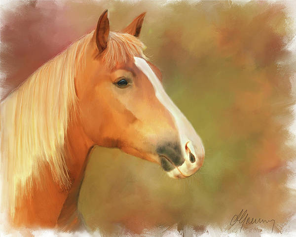 Red Horse Painting Print featuring the painting Horse Painting by Michael Greenaway