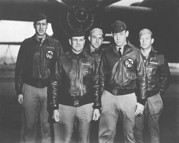 Doolittle Raid Print featuring the photograph Jimmy Doolittle And His Crew by War Is Hell Store
