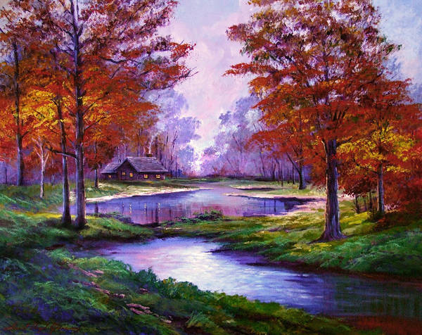 Autumn Print featuring the painting Lakeside Cabin by David Lloyd Glover
