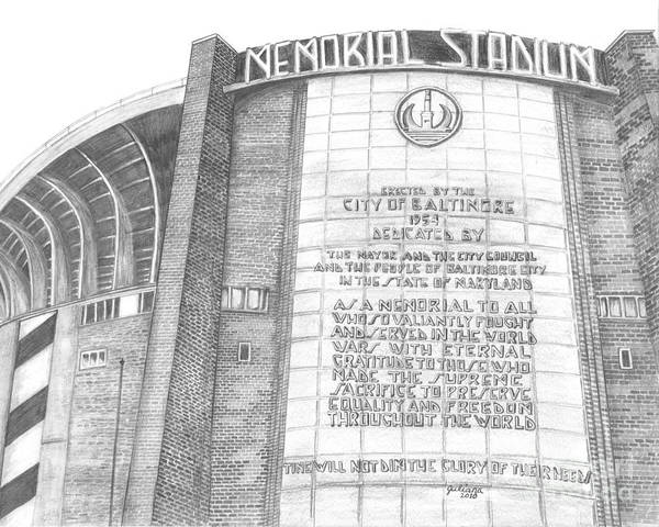 Baltimore Orieols Stadium Print featuring the drawing Memorial Stadium by Juliana Dube