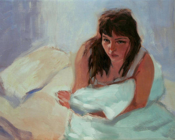 Portrait Print featuring the painting Nicole In The Morning by Merle Keller
