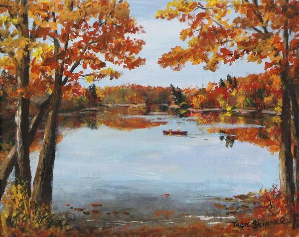 Walden Pond Print featuring the painting October Morn At Walden Pond by Jack Skinner