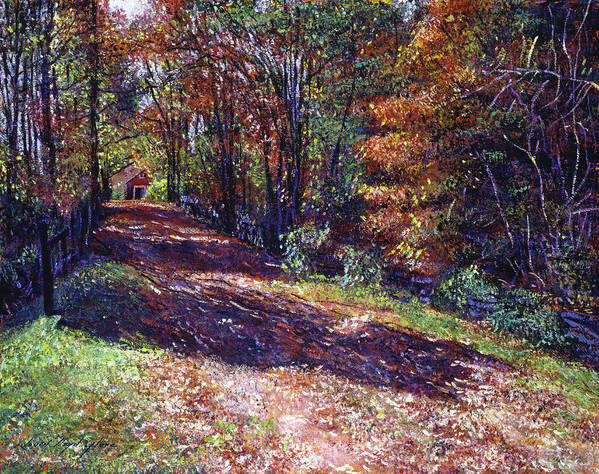 Country Road Print featuring the painting Old Farmhouse Road by David Lloyd Glover