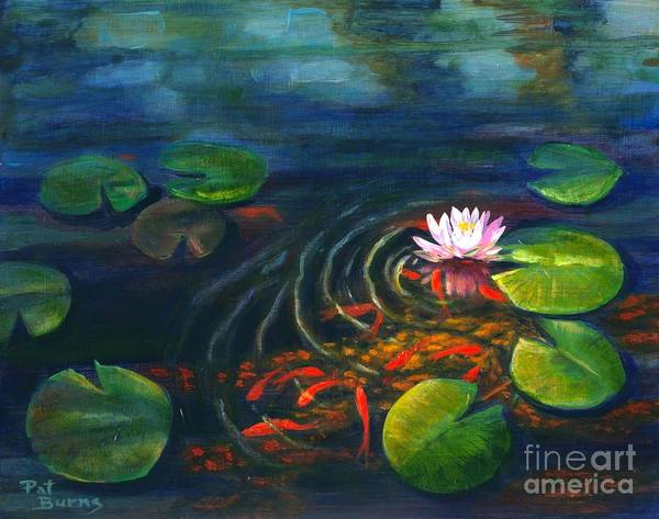 Waterscape Print featuring the painting Pond Jewels by Pat Burns