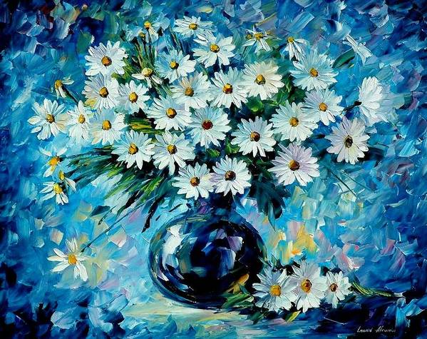 Floral Print featuring the painting Radiance by Leonid Afremov