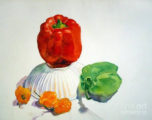 Peppers Print featuring the painting Red Rules by Elizabeth Carr