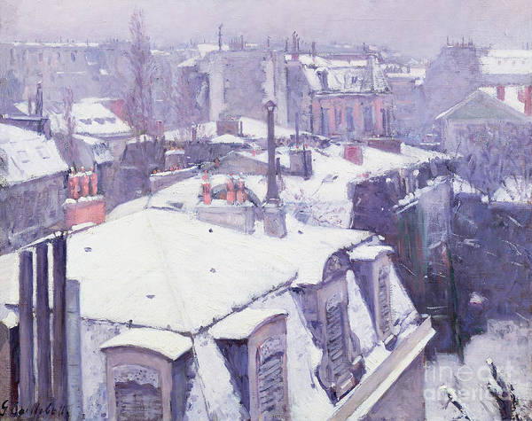 Snow Print featuring the painting Roofs Under Snow by Gustave Caillebotte