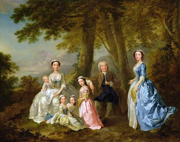 Samuel Print featuring the painting Samuel Richardson Seated With His Family by Francis Hayman