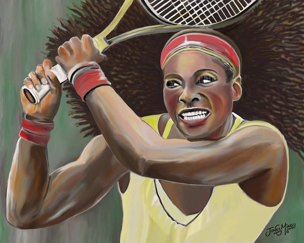 Tennis Print featuring the digital art Serena by James Mingo