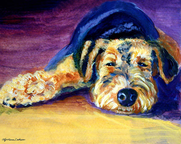 Airedale Terrier Print featuring the painting Snooze Airedale Terrier by Lyn Cook