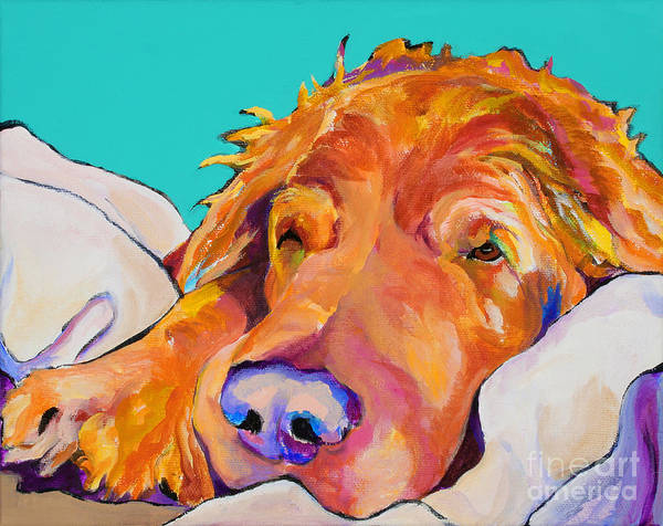Dog Poortraits Print featuring the painting Snoozer King by Pat Saunders-White
