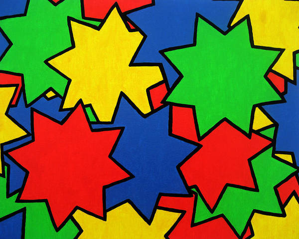 Stars Print featuring the painting Starburst by Oliver Johnston