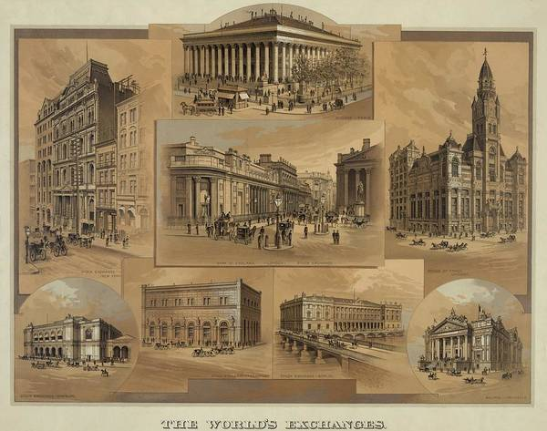 History Print featuring the photograph Stock Exchanges In New York, Paris by Everett