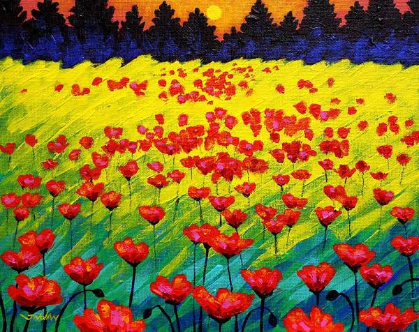 Landscape Print featuring the painting Sun Poppies by John Nolan