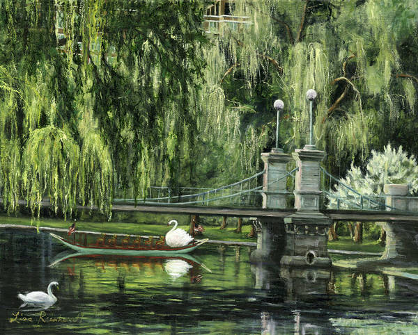 Boston Print featuring the painting Swan Boats by Lisa Reinhardt
