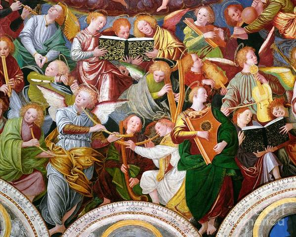 The Print featuring the painting The Concert Of Angels by Gaudenzio Ferrari