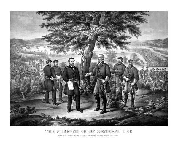 Civil War Print featuring the drawing The Surrender Of General Lee by War Is Hell Store