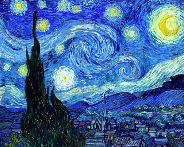 Van Gogh Print featuring the painting Van Gogh Starry Night by Vincent Van Gogh